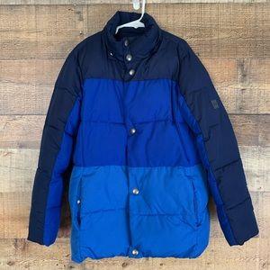 GAP Kids multi blue puffer coat jacket Medium 8 9